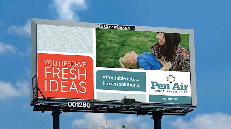 A colorful, eye-catching billboard speaks to Pen Air's focus on doing what's best for their members.