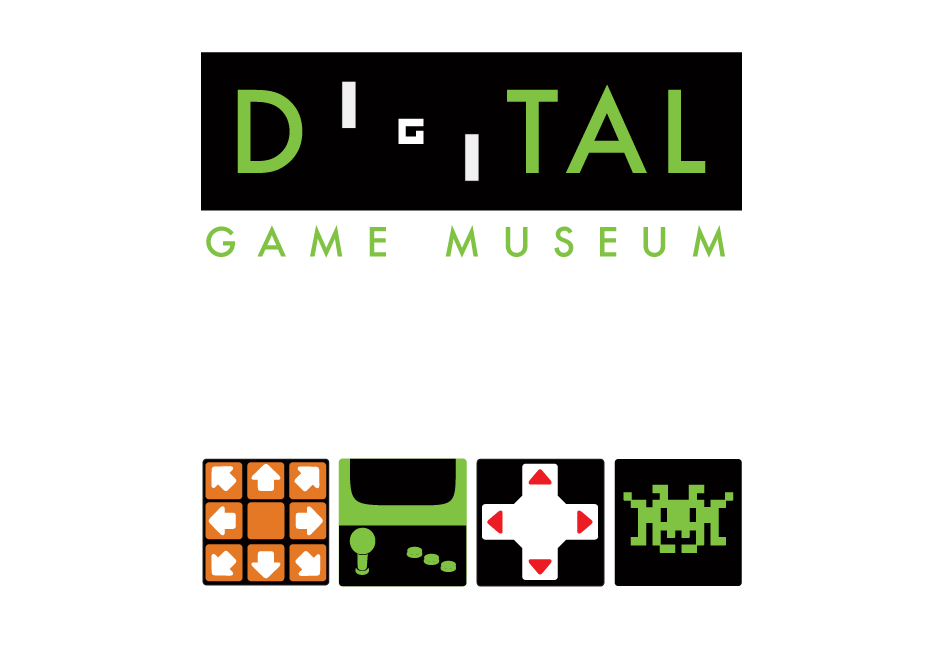 Digital Game Museum main logo playing off the first digital game, Pong. Below are exhibit logos.  1. Music Games 2. Rise of the Arcade 3. History of the Controller 4. The 8 bit Explosion