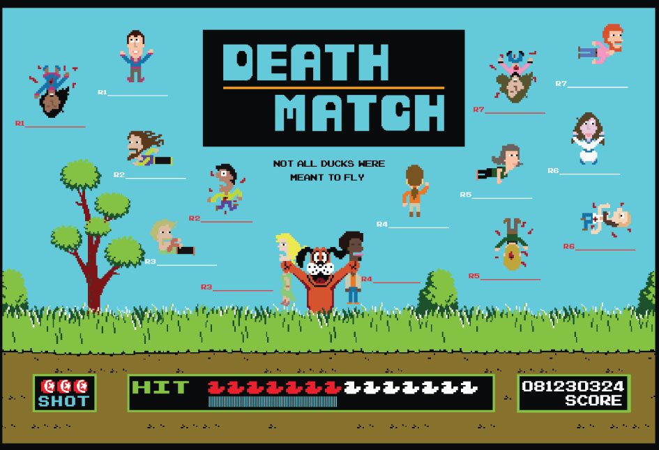 "A poster made for a class called ""Death Match"" based on the game Duck Hunt."