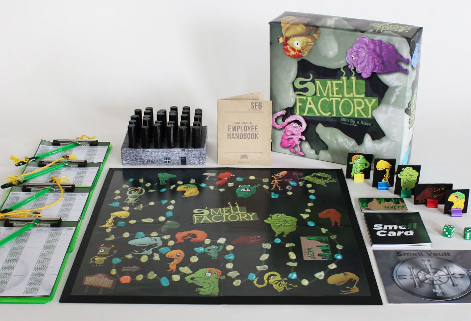 Game includes: Smell pads let you log your previous smells, smell vials, the board, Employee handbook, top of the box, Smell Trolls, Whiff Cards, Smell Cards, dice, and the answer to all the missing smells lies in the Smell Vault.