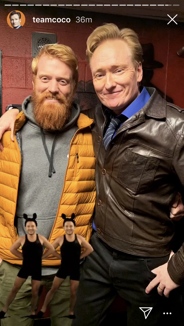 """On the last day before i had to shave it off Conan called me out of the Crowd """"Me with testosterone"""" I got to meet him afterwards, it was a good beard send off."""