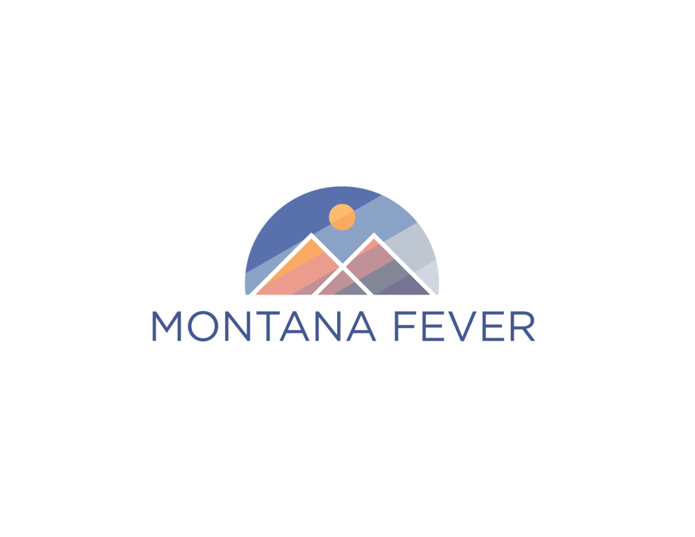 A logo for a company that sells Montana memorabilia. The Mountains also for the initials of the brand. The colors were mimicked from the actual colors that the mountains get right before sun down.