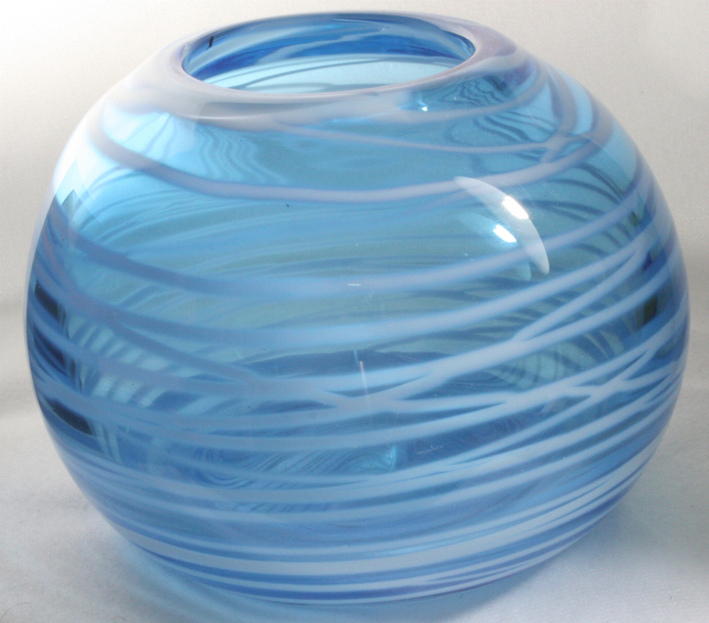 Elliott glass art blog elliott glass art blue bowl with opaque white body wrap lines closed blue bowl hand blown transparent glass bowl gift glass art reviewsmspy