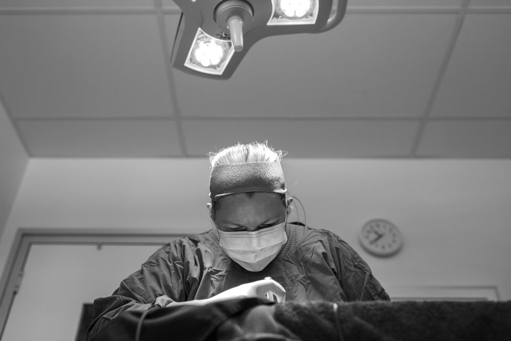 Dr Fiona Starr in the middle of an orthopaedic surgery.  7 December, 2017.