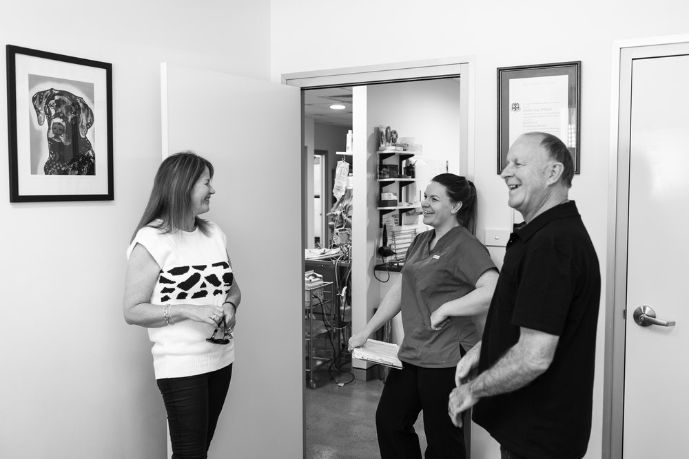Dr Jessica Winsall shows her parents, Kristin and Graeme, around her first practice.  29 March, 2018.