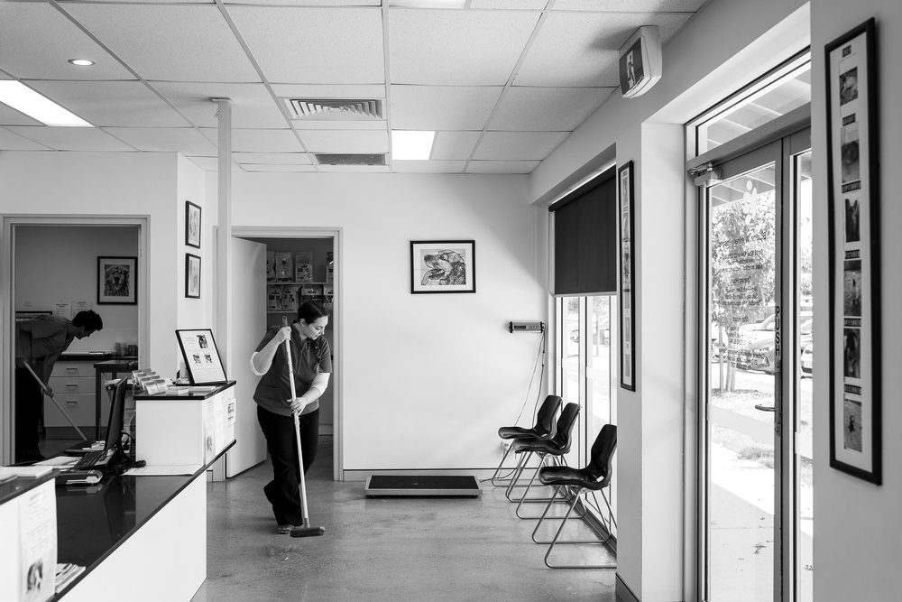 Closing time means sweeping, mopping and cleaning by Receptionist Kelly Haslop ( right ) and Nurse Skye Longley ( left ).  13 January, 2018.