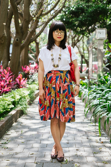 Raina  on Flickr.  Daan District, TAIPEI. Raina Lee, writer. Osei-Duro skirt, Uniqlo blouse, FIEL bag, Anniel Moda shoes, Vintage Geoffrey Beene glasses, Vintage necklace. Dream Collective bracelet   blogs.wsj.com/scene/2013/07/26/scenestyle-vintage-geoffre…