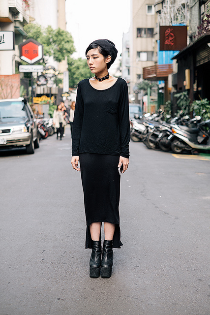 SCENEST_TW_04a  on Flickr.  Dong Chu, TAIPEI. Anddi Song, boutique salesperson. American Apparel shirt, Top Shop hat, skirt from night market (no brand), shoes from Korea (no brand), custom made necklace choker.   blogs.wsj.com/scene/tag/scenestyle/
