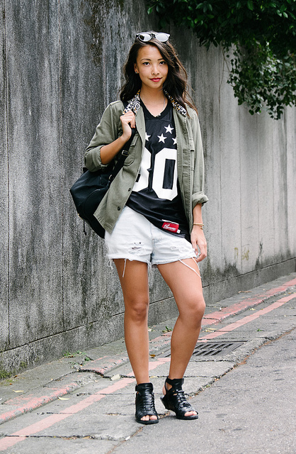 Sandy  on Flickr.  DAAN District, Taipei. Sandy Ley, Graphic Designer. MadeMe x Stussy Jacket, Supreme Jersey, Vintage Levis Shorts, Alexander Wang shoes, Vintage Moschino Bag, Illesteva sunglasses   blogs.wsj.com/scene/2013/04/03/scenestyle-vintage-moschin…