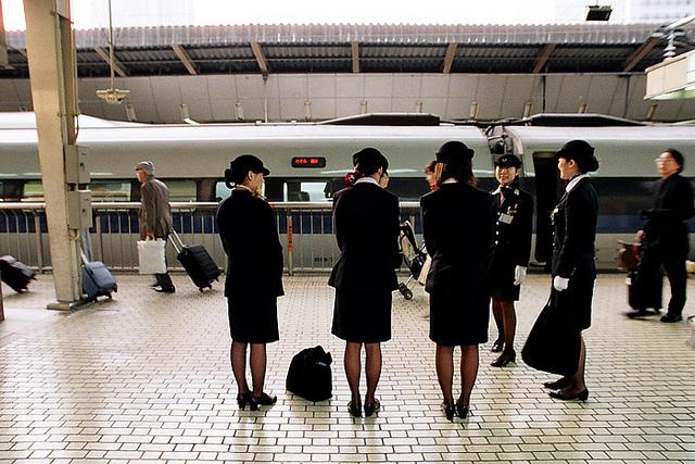 shinkansenattendants  on Flickr.  2005. Ueno, Tokyo, Japan.