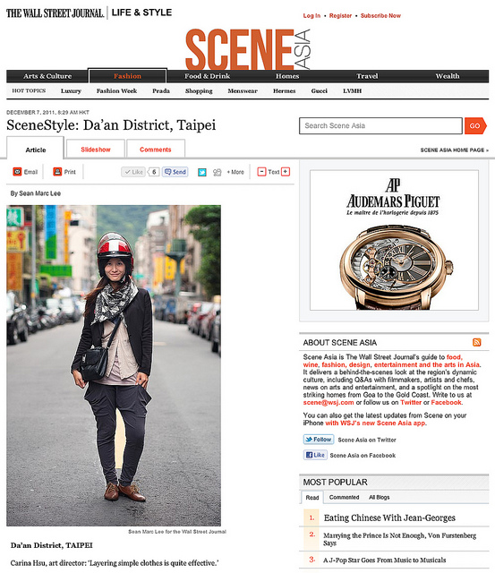 "Screen Shot 2011-12-07 at 11.22.58 AM  on Flickr.  i'm contributing to Taipei, Taiwan section of Wall Street Journal's SCENE ASIA ""STREET STYLE""   check it out here:   blogs.wsj.com/scene/2011/12/05/introducing-scenestyle/tab…    a new photo from all over the pacific from different photographers will update daily!"