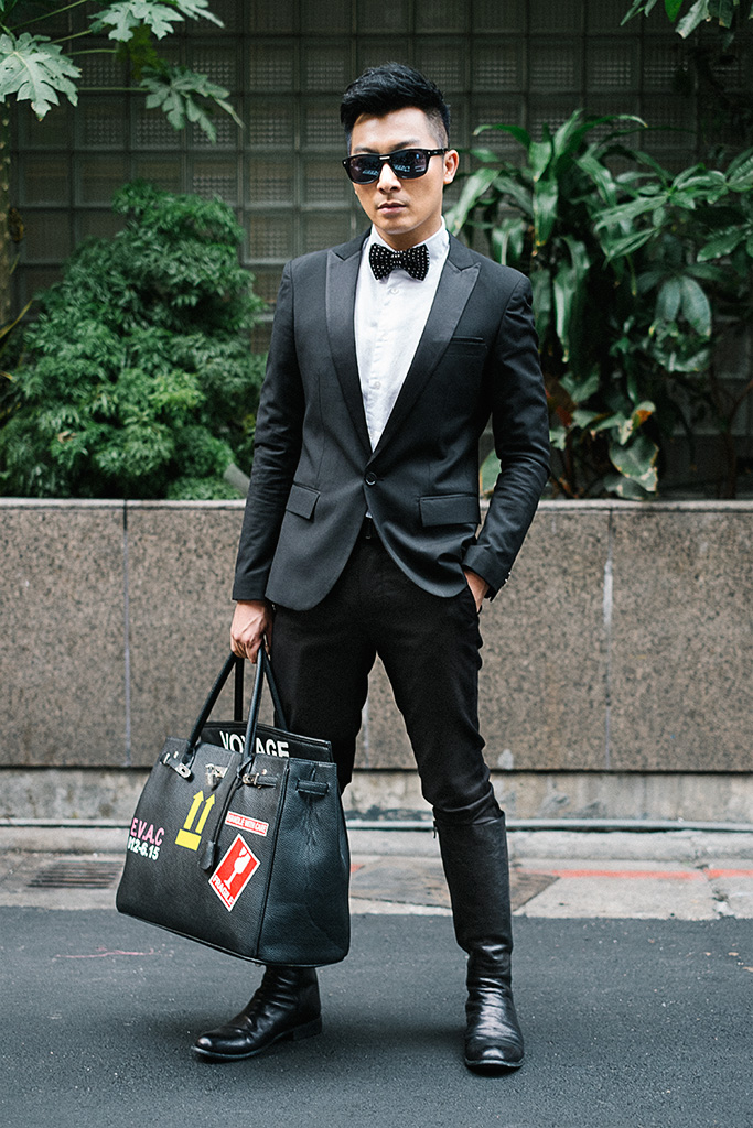 Daan District, TAIPEI. Kevin Chen, Stylist & Makeup Artist. Dandy suit and boots, night market bowtie, vintage bag, Prada sunglasses