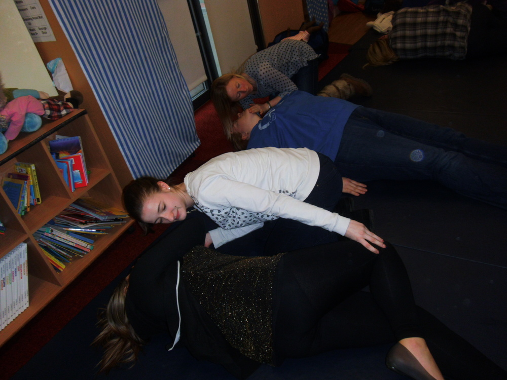 The recovery position.  Well done girls!