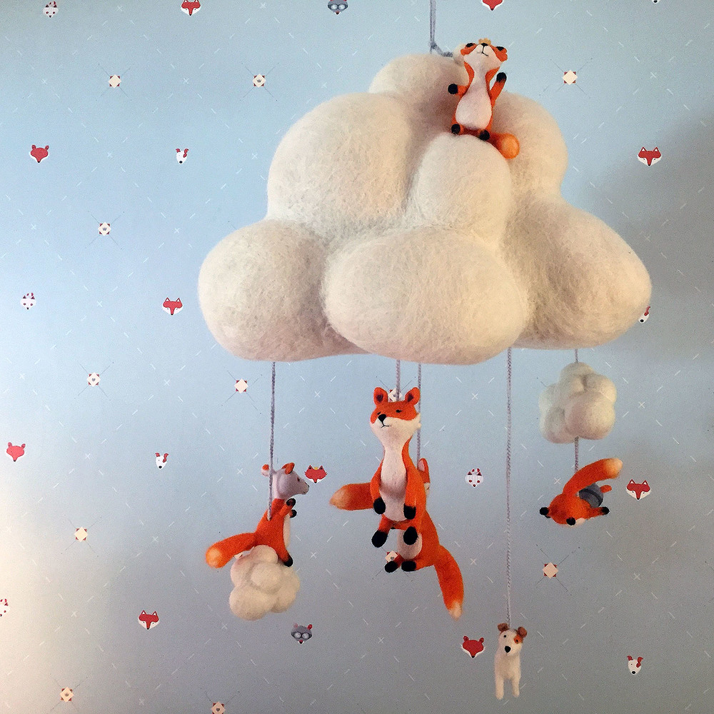Needle felted cloud and fox mobile 2.jpg