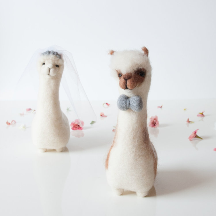 wedding cake toppers. alpaca wedding cake toppers