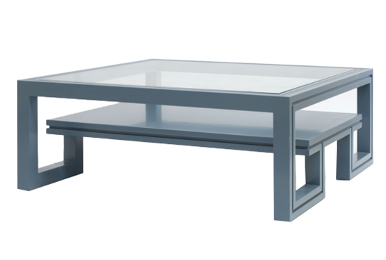 Beau Duncan Blue Lacquer Coffee Table