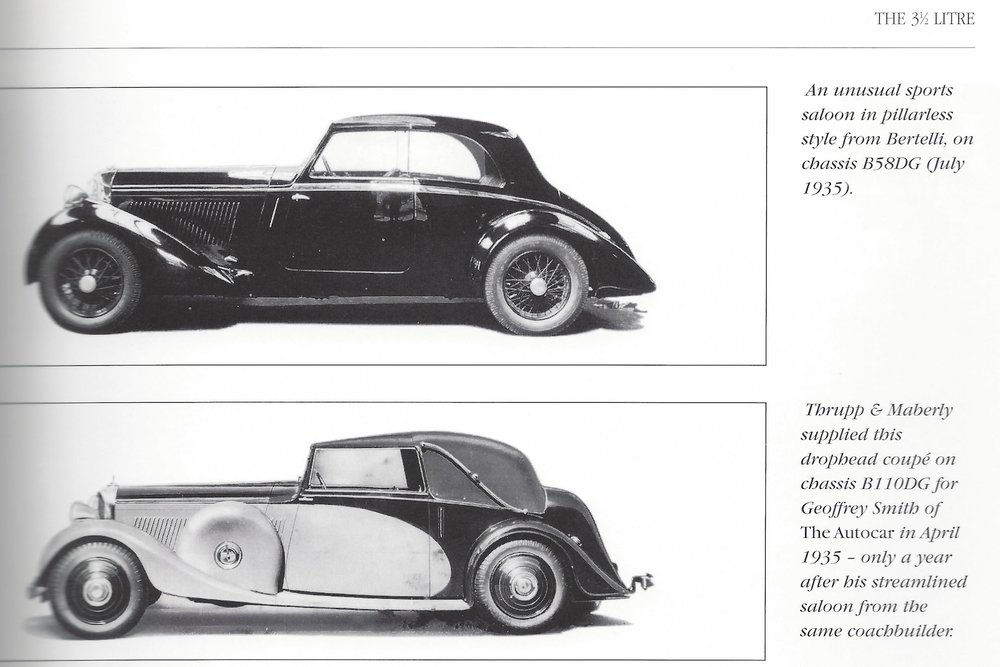 Bottom Photo: B110 DG as featured in Bentley 3½ & 4¼ Litre 1933-1940 in Detail by Nick Walker