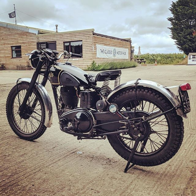 Angus' gorgeous AJS at the Hub. Yes we do bikes too! #motorcycle #classicmotorcycle #ajs #ridetastefully #vintage #bestofbritish #cotswolds #cotswoldcollectorscars #classicmotorhub