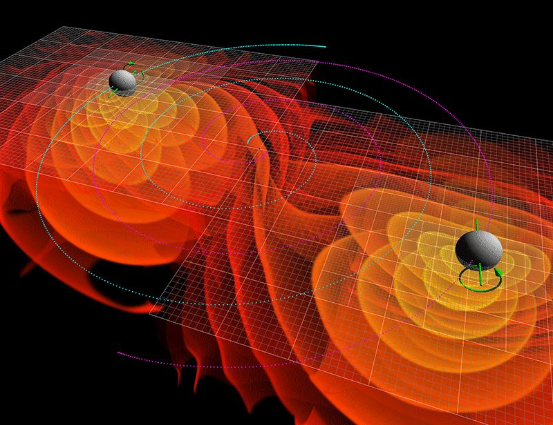 Artist's representation of black holes circling each other in the process of collapsing into one and emitting gravitational waves as a result.