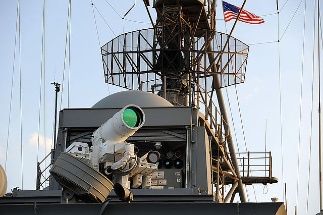 Laser Weapon System aboard the USS Ponce, an example of advanced military technology developed by the Office of Naval Research.