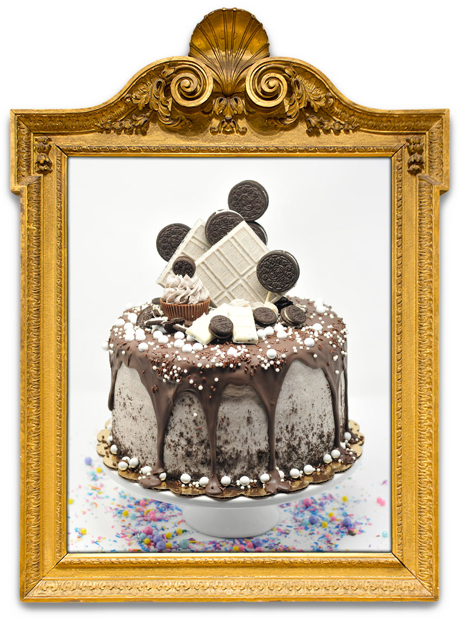 CHOCOLATE COOKIE LOVERS   Chocolate rules in this Oreo overload! This cake is over the top for cookies and cream fans with chocolate cake, a chocolate drip, white crushed cookie bar, and then sprinkled with crushed oreos, sprinkles, and sixlets!