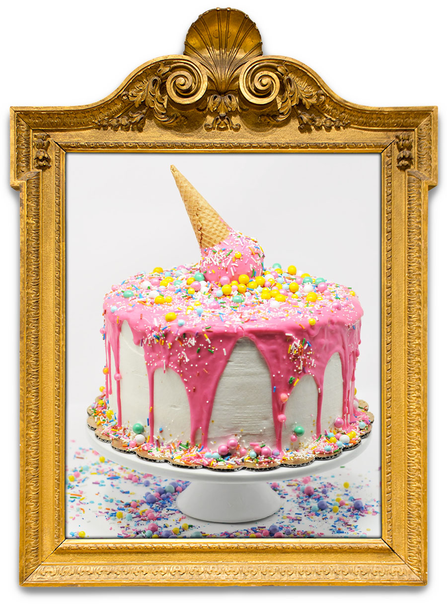 I ♥ ICE CREAM PINK (or in blue)   Eat this before it melts! White cake, white buttercream, and pink icing! Crazy colorful sprinkles, sixlets, and a giant cake ball with a waffle cone!