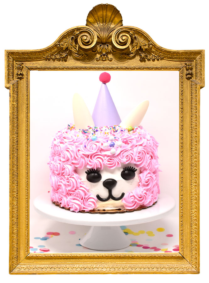 LLAMA   A cute white cake or tuxedo decorated with pink rosettes buttercream, sprinkles, and an adorable face and ears that says eat me!