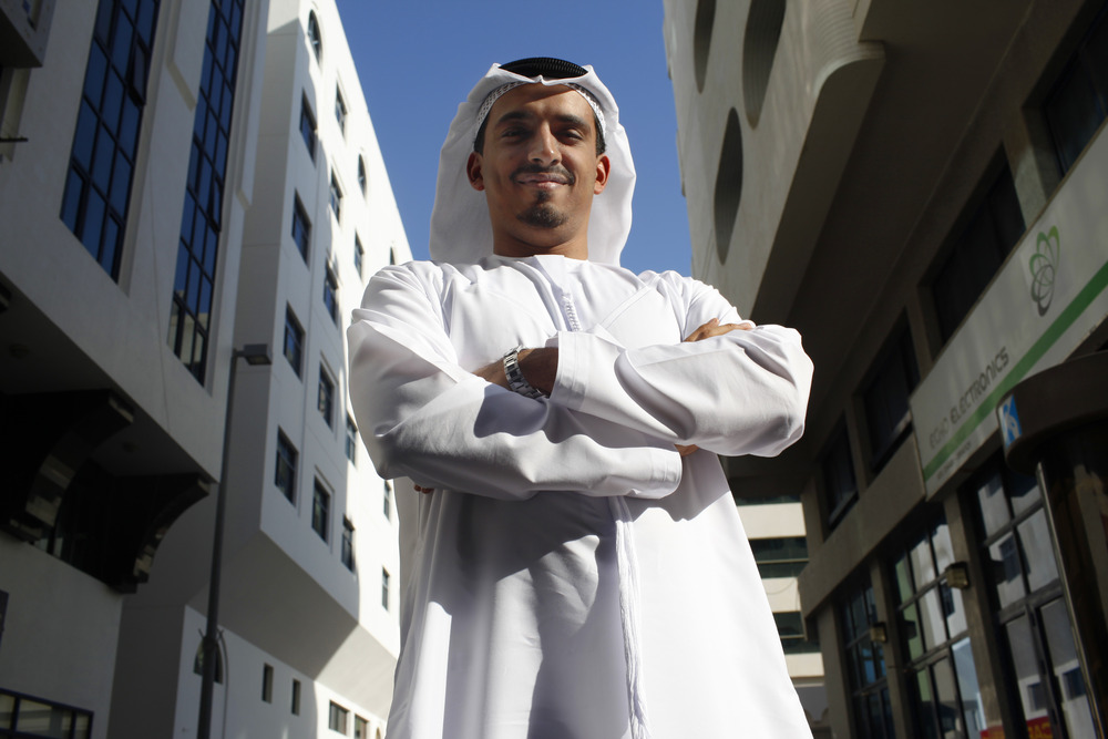 Portrait of an Abu Dhabi resident, who claimed he could navigate to any building in the city using the existing address system.  Published as accompanying artwork in The National newspaper.