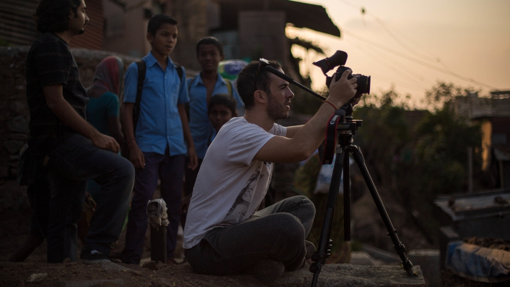 Mandolin Media's Creative Director Paul O'Driscoll filming on location in Pune, India.