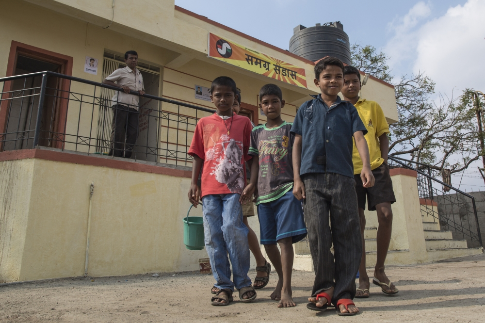 Since Samagra began operating this toilet block in Pune, India, a year ago, children have access to clean sanitary facilities. Before, many chose to defecate in open rather than use filthy state-run toilets, a behaviour that had significant hygiene consequences.  Used as Facebook cover photo by the Bill & Melinda Gates Foundation.