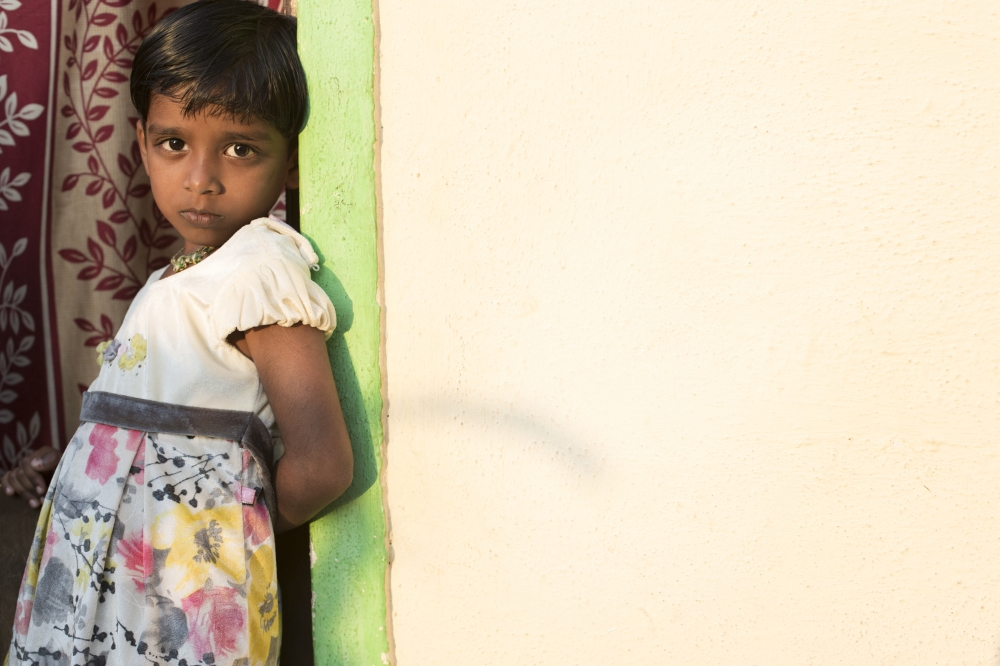 A child in a slum in Pune, India, where the Samagra sanitation initiative has installed clean toilets with running water.  Part of a photo essay for the Bill & Melinda Gates Foundation.