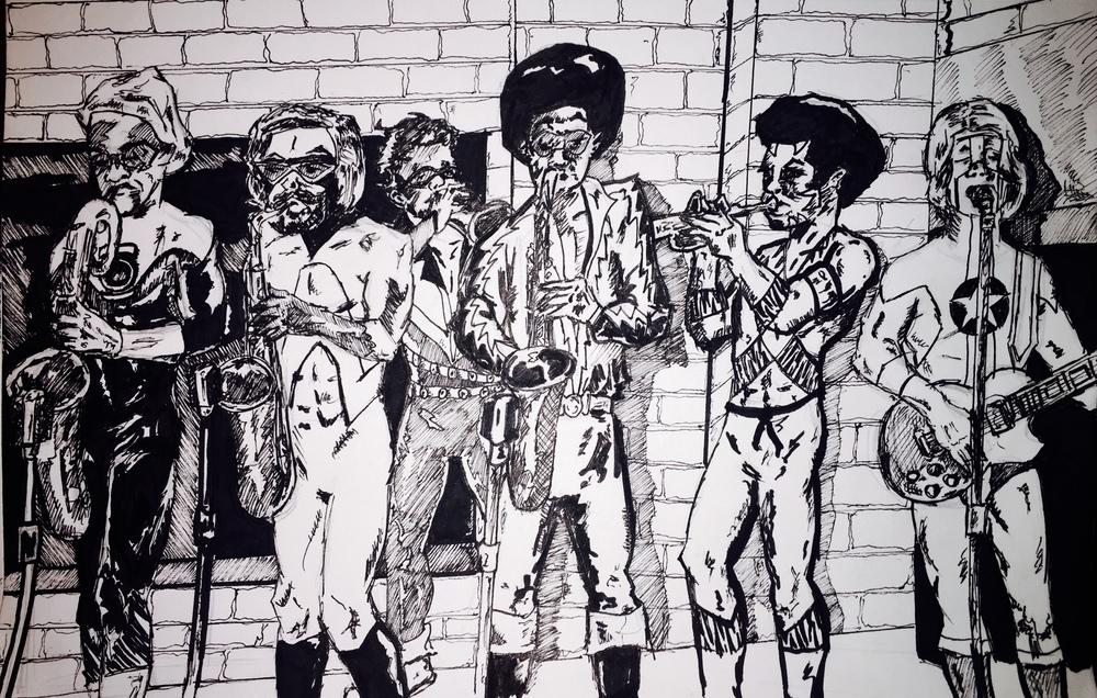 (Left to Right) on brass -- Green Lantern John Stewart; Animal Man; Vibe; Black Lightning; Bronze Tiger; on guitar and vocals -- Steel