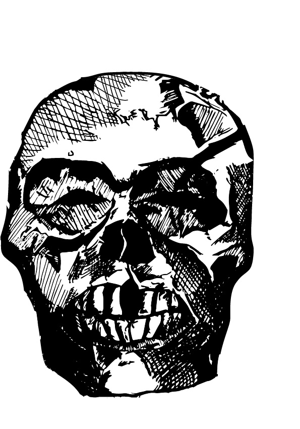 Skull; excerpt from an original DC Comics Constantine sketch I made 2 years ago.