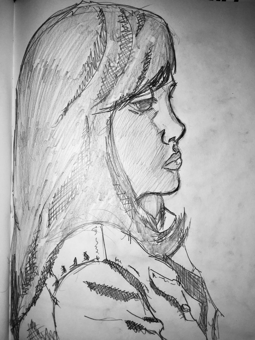 And here's one from a new drawing group I found in Lansing that meets at a quaint, new coffee shop called Blue Owl.