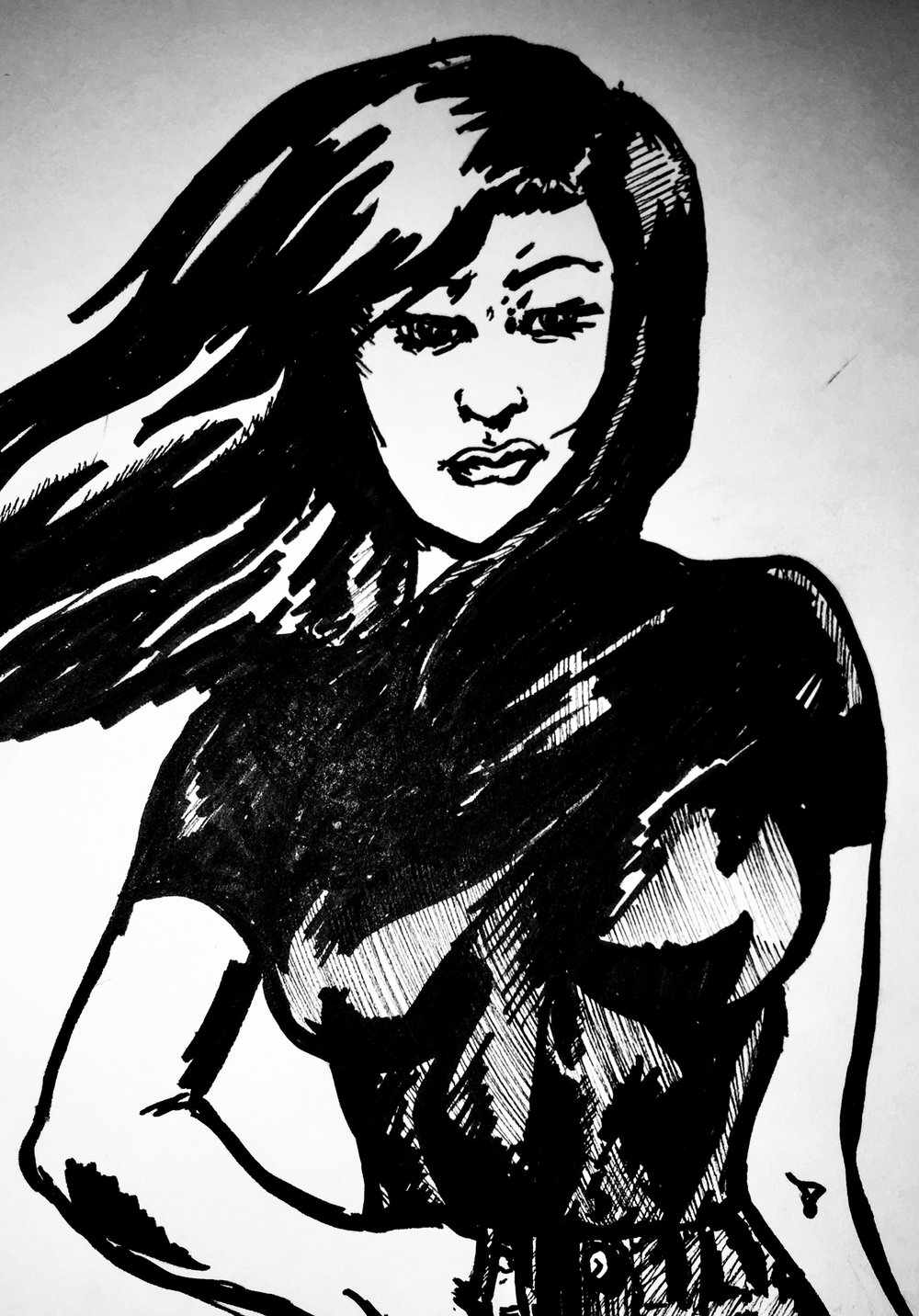 Filling out the post, this Talia al Ghul sketch is actually from a few months ago.