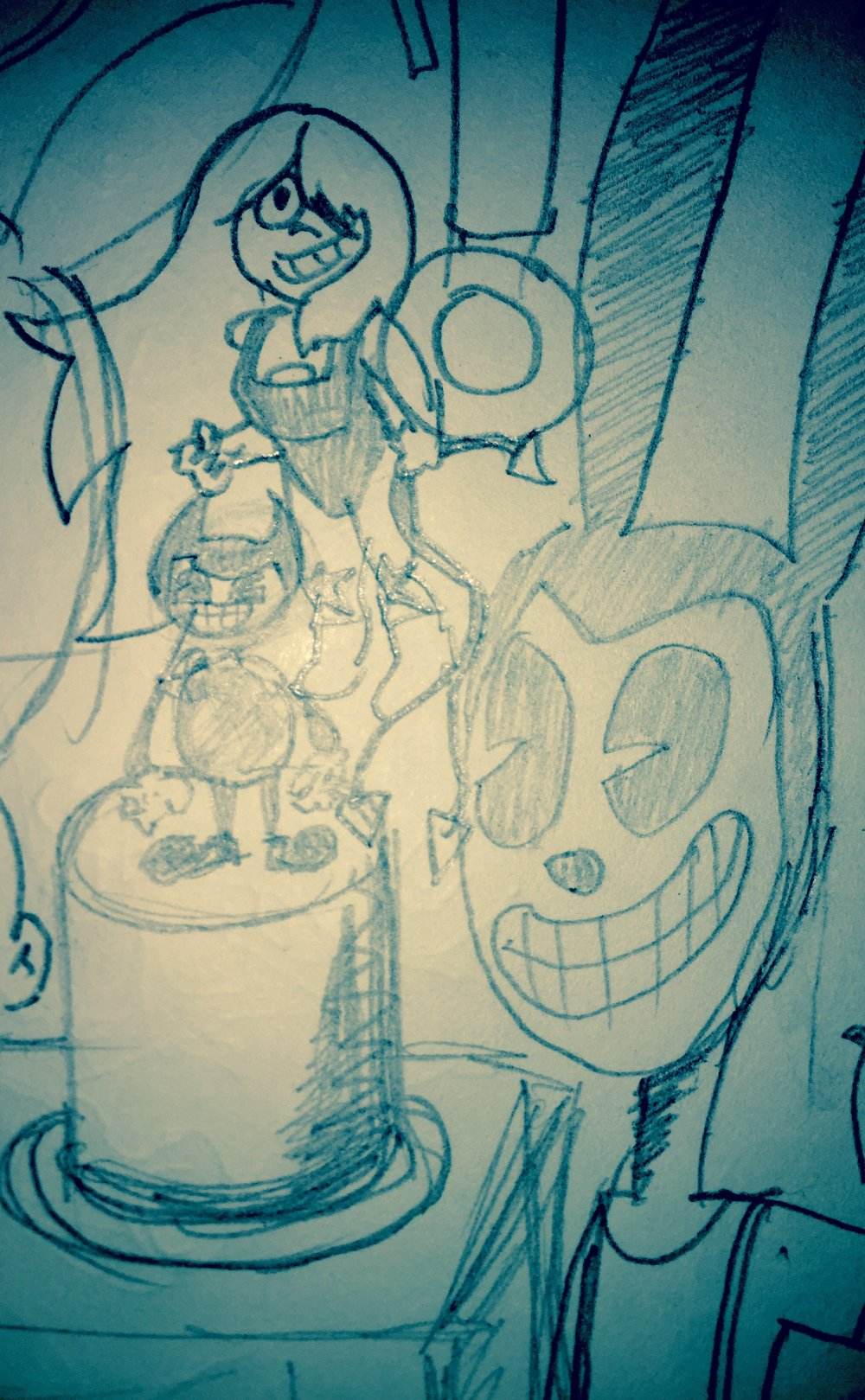 Amethyst and Bendy along with a creepy 1920's bunny in suspenders cartoon dude.