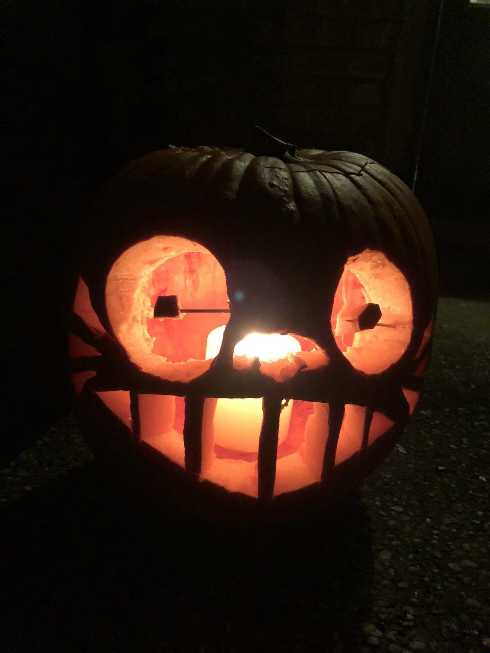 our My Neighbor Totoro pumpkin, lookin' pretty good if I do say so myself...