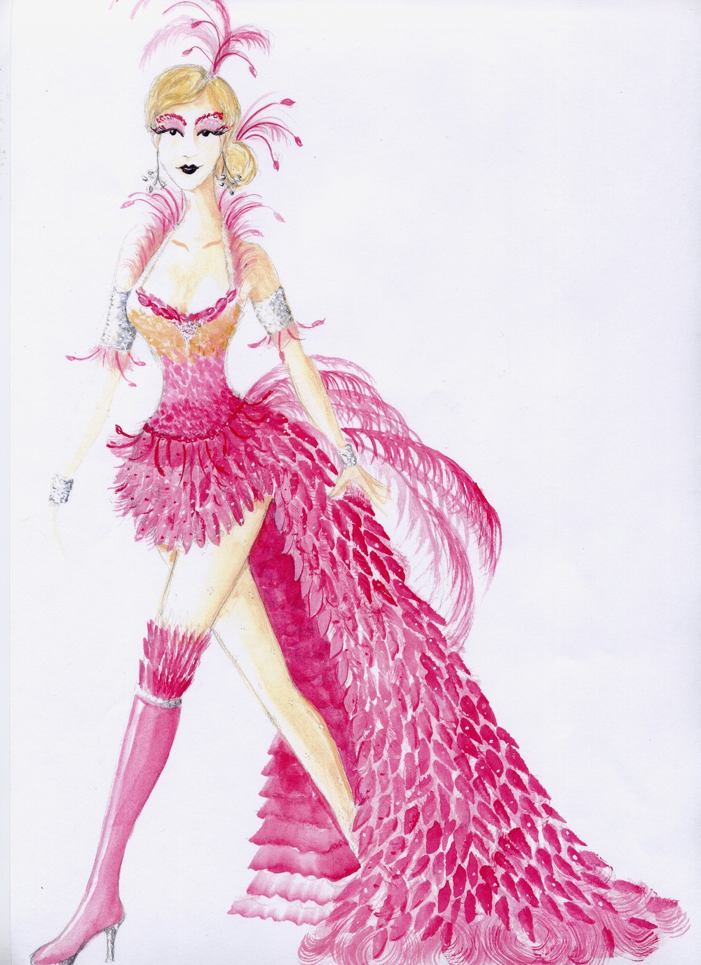 Flamingo costume rendering