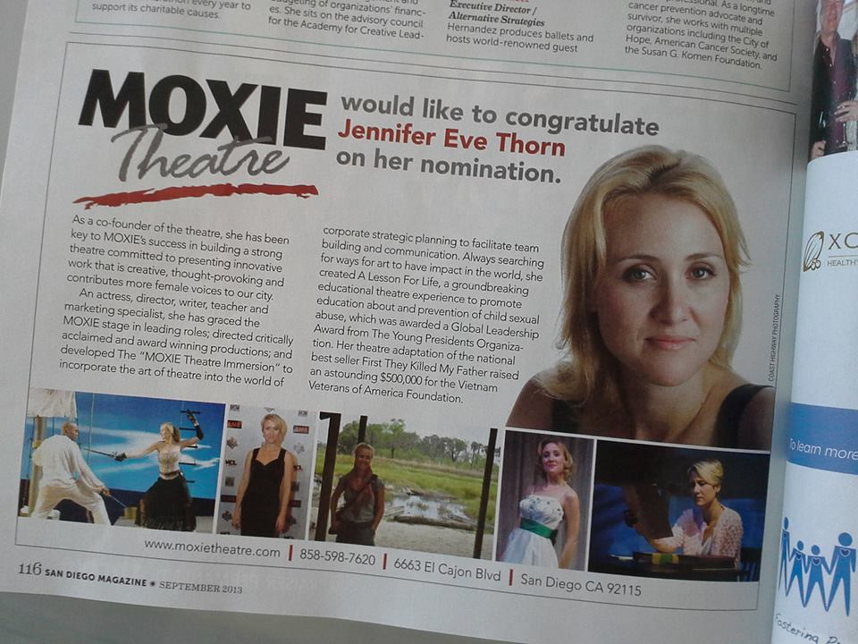 """Read all about her in this month's issue of San Diego Magazine. Or better yet, go see a show at MOXIE Theatre, the only theatre company in San Diego dedicated to finding new female voices, shattering stereotypes, and expanding the idea of what is """"feminine"""". See their upcoming season at www.moxietheatre.com"""