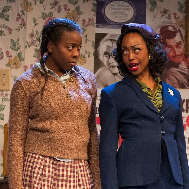 "Deja Fields as country girl Ermina and Cashae Monya as her city smart Aunt Lily in MOXIE Theatre's production of ""Crumbs from the Table of Joy"".  Photo by Daren Scott."