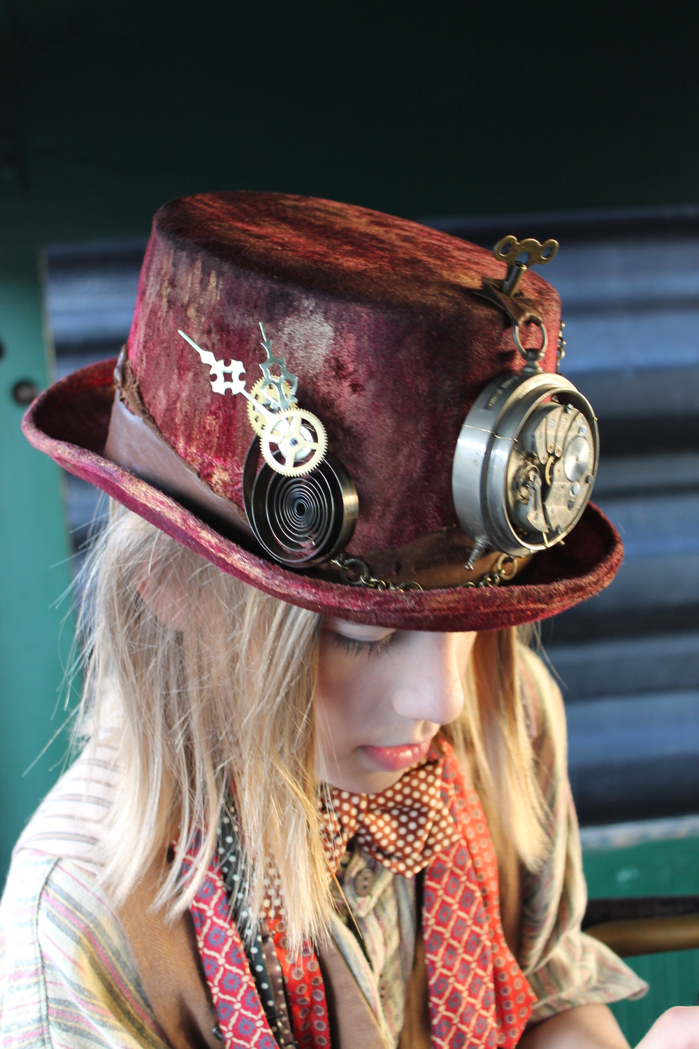 Hand-painted Velvet Clockwork Top Hat