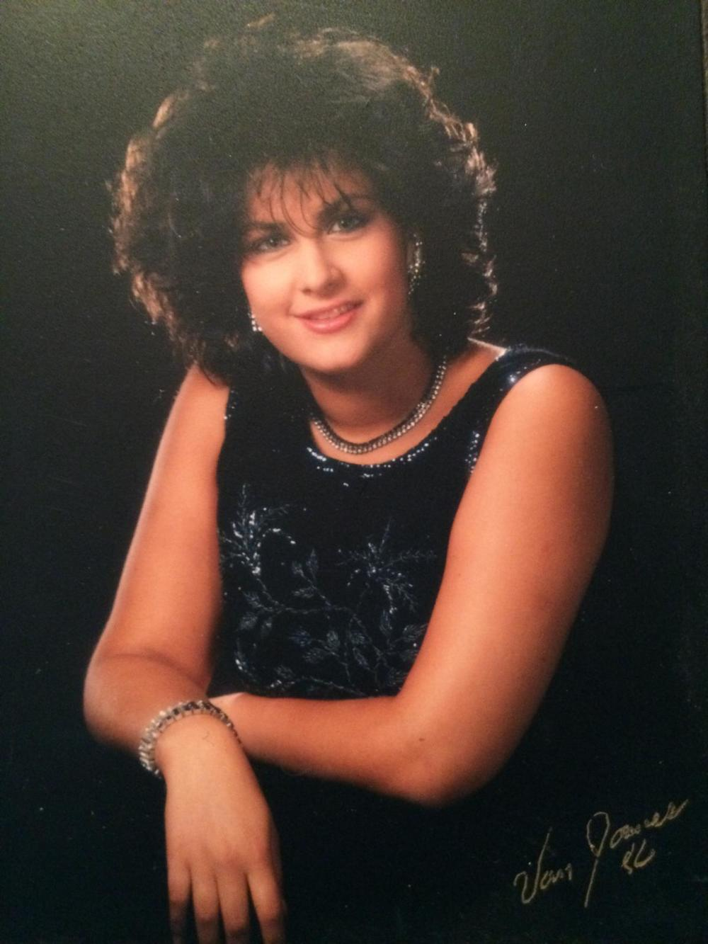 Jeannie in 1986...wearing a vintage beaded 1950's numbter.  Ready for the red carpet, and at such a tender age!