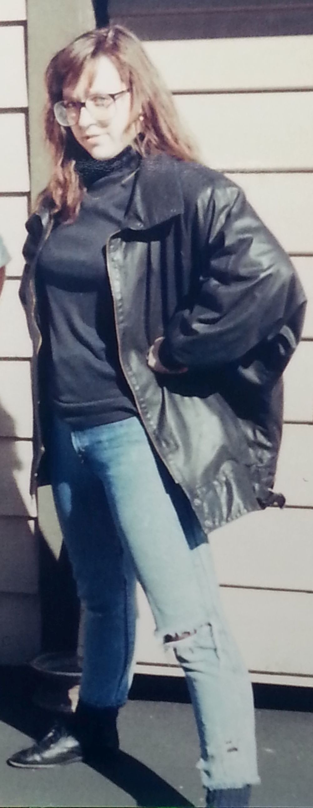 Jennifer in 1989...wearing her very own Wilson's Leather jacket.
