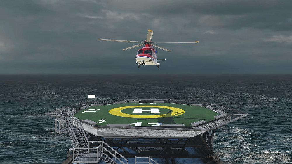 Still uit 'Marshalling' waarin de kinderen een helicopter naar de landingsplaats moeten loodsen.