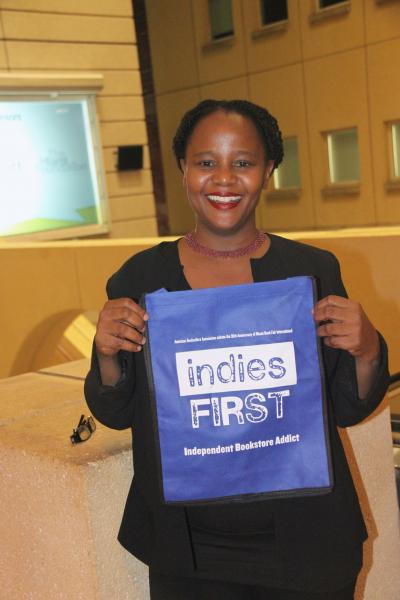 The Awesome Edwidge Danticat with her Indies First bag
