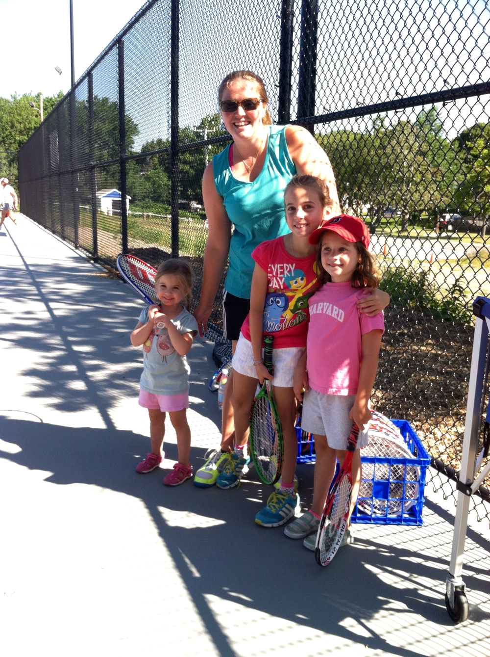 Jessica, Ryan, Sarah, & Erin enjoying tennis lessons at Peter Igo Park