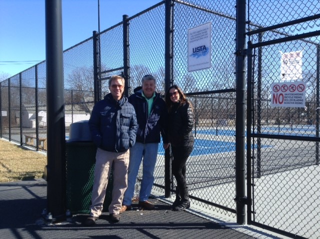 From right to left: Matt Olson, Executive Director USTA New England, Bud Duksta, MTC President, and Ms. Karen Zuidema, Director of Community Tennis USTA New England