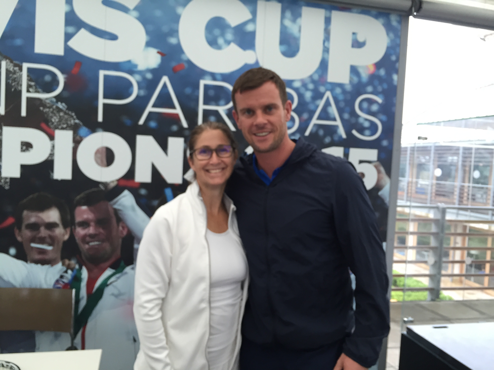 Linda with Andy Murray's tennis coach, Leon Smith