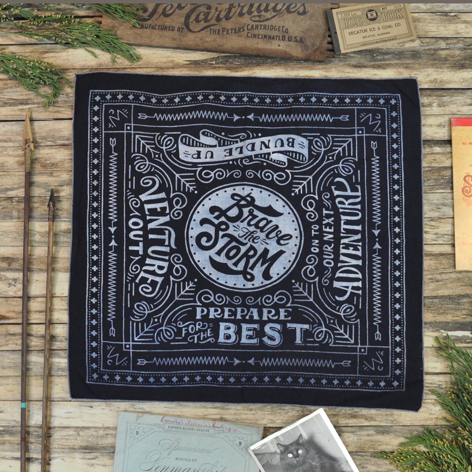 Black Winter Cabin bandana with props small.jpg