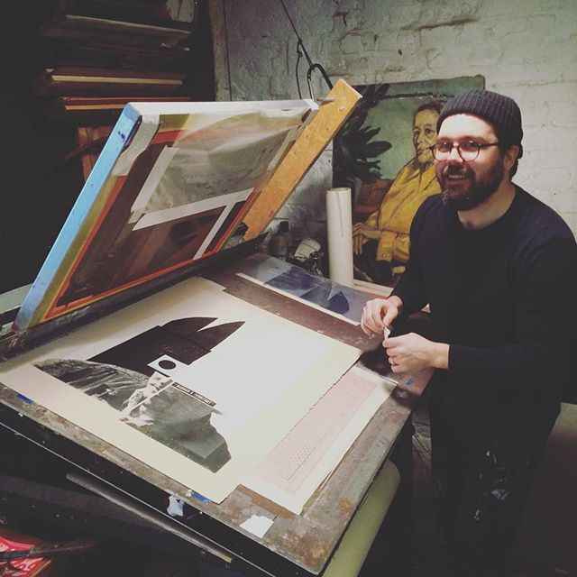 @mikemcquade at the press. We worked together to interpret one of his collages into a limited edition print using oiled laser prints and cut paper. Look for them in his shop soon!